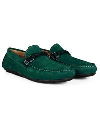 Green and Dark Green Buckle Moccasins Leather Shoes alternate shoe image