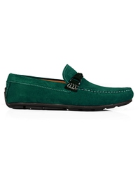 Green and Dark Green Buckle Moccasins Leather Shoes main shoe image