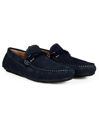 Navy Blue and Navy Blue Buckle Moccasins Leather Shoes alternate shoe image