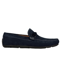 Navy Blue and Navy Blue Buckle Moccasins Leather Shoes main shoe image