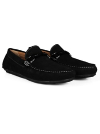Black and Black Buckle Moccasins Leather Shoes alternate shoe image