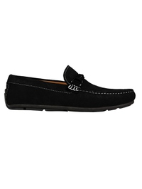 Black and Black Buckle Moccasins Leather Shoes main shoe image