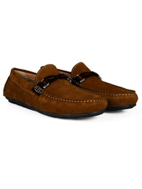 Tan and Brown Buckle Moccasins Leather Shoes alternate shoe image