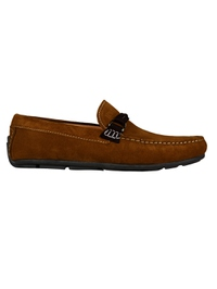 Tan and Brown Buckle Moccasins Leather Shoes main shoe image