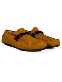 Mustard and Brown Buckle Moccasins Leather Shoes alternate shoe image