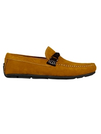 Mustard and Brown Buckle Moccasins main shoe image