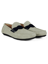 Gray and Navy Blue Cross Strap Moccasins alternate shoe image