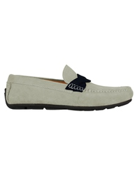 Gray and Navy Blue Cross Strap Moccasins main shoe image