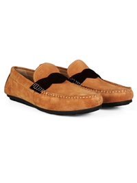Beige and Brown Cross Strap Moccasins Leather Shoes alternate shoe image