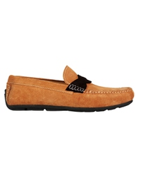 Beige and Brown Cross Strap Moccasins Leather Shoes main shoe image