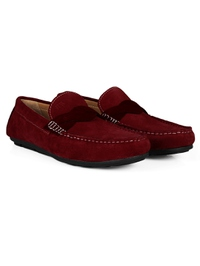 Red and Burgundy Cross Strap Moccasins Leather Shoes alternate shoe image