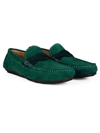 Green and Dark Green Cross Strap Moccasins Leather Shoes alternate shoe image