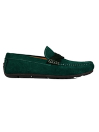 Green and Dark Green Cross Strap Moccasins Leather Shoes main shoe image