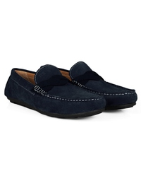 Navy Blue and Navy Blue Cross Strap Moccasins Leather Shoes alternate shoe image