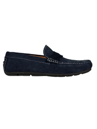 Navy Blue and Navy Blue Cross Strap Moccasins Leather Shoes main shoe image