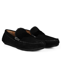 Black and Black Cross Strap Moccasins Leather Shoes alternate shoe image