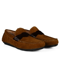 Tan and Brown Cross Strap Moccasins Leather Shoes alternate shoe image