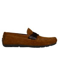 Tan and Brown Cross Strap Moccasins main shoe image