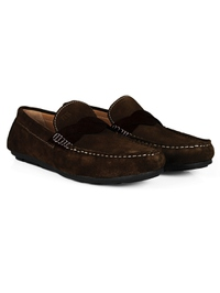 Brown and Brown Cross Strap Moccasins Leather Shoes alternate shoe image