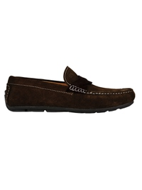 Brown and Brown Cross Strap Moccasins Leather Shoes main shoe image
