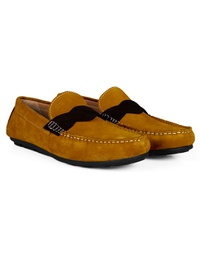 Mustard and Brown Cross Strap Moccasins Leather Shoes alternate shoe image