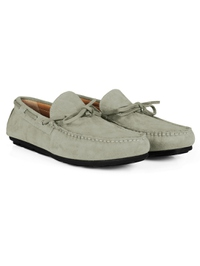 Gray Boat Moccasins Leather Shoes alternate shoe image