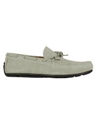 Gray Boat Moccasins Leather Shoes main shoe image