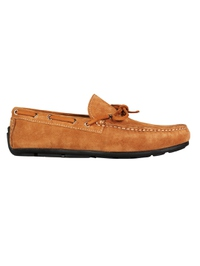 Beige Boat Moccasins Leather Shoes main shoe image