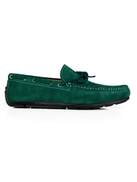 Green Boat Moccasins Leather Shoes main shoe image