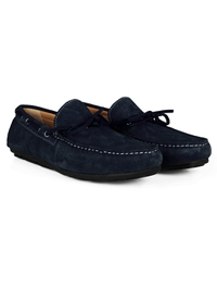 Navy Blue Boat Moccasins Leather Shoes alternate shoe image