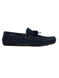 Navy Blue Boat Moccasins Leather Shoes main shoe image
