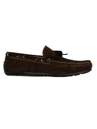 Brown Boat Moccasins Leather Shoes main shoe image