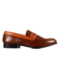 Coffee Brown and Tan Premium Apron Halfstrap Slipon main shoe image