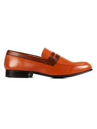 Tan and Coffee Brown Premium Apron Halfstrap Slipon main shoe image