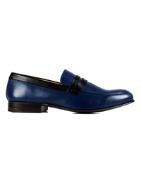 Dark Blue and Black Premium Apron Halfstrap Slipon main shoe image
