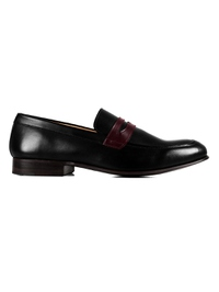 Black and Burgundy Premium Apron Halfstrap Slipon main shoe image