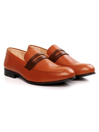 Tan and Coffee Brown Premium Apron Halfstrap Slipon alternate shoe image