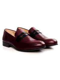 Burgundy and Black Premium Apron Halfstrap Slipon alternate shoe image