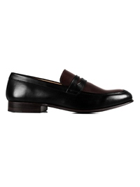 Black and Brown Premium Apron Halfstrap Slipon main shoe image