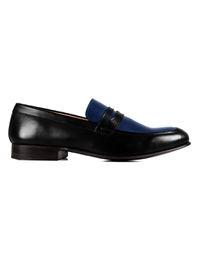 Black and Dark Blue Premium Apron Halfstrap Slipon main shoe image