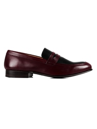 Burgundy and Black Premium Apron Halfstrap Slipon main shoe image