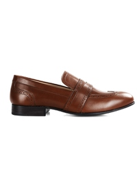 Coffee Brown Premium Wingcap Slipon main shoe image