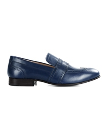 Dark Blue Premium Wingcap Slipon main shoe image