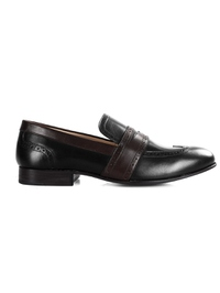 Black and Brown Premium Wingcap Slipon main shoe image