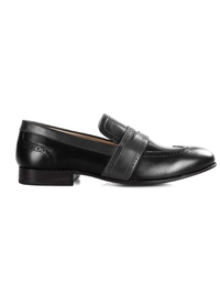 Black and Gray Premium Wingcap Slipon main shoe image
