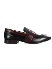 Black and Burgundy Premium Wingcap Slipon main shoe image