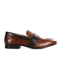 Coffee Brown and Brown Premium Wingcap Slipon main shoe image