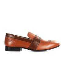 Tan and Coffee Brown Premium Wingcap Slipon main shoe image