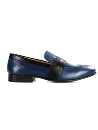 Dark Blue and Black Premium Wingcap Slipon main shoe image
