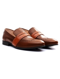 Coffee Brown and Tan Premium Wingcap Slipon alternate shoe image